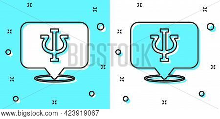 Black Line Psychology Icon Isolated On Green And White Background. Psi Symbol. Mental Health Concept
