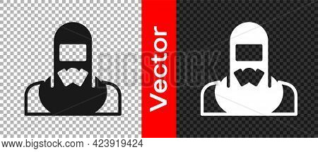 Black Nuclear Power Plant Worker Wearing Protective Clothing Icon Isolated On Transparent Background