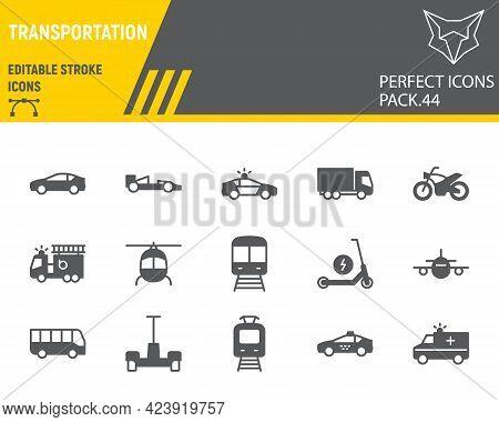 Transportation Glyph Icon Set