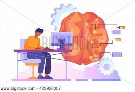 Future Technology Of Digital Brain Artificial Intelligence. Self-learning Bots Have Mastered, Machin