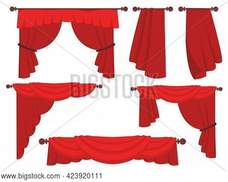Trendy Red Curtains Flat Pictures Collection. Stage Red Curtains Flat Set For Web Design