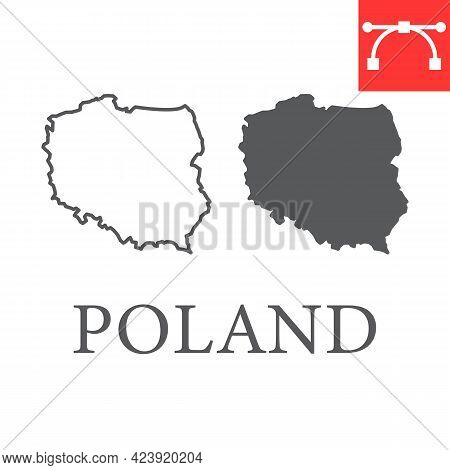 Map Of Poland Line And Glyph Icon
