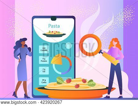 Calorie Counting Apps Showing Nutrition Facts Of Meal, Healthy Eating, Weight Loss Program. Flat Abs