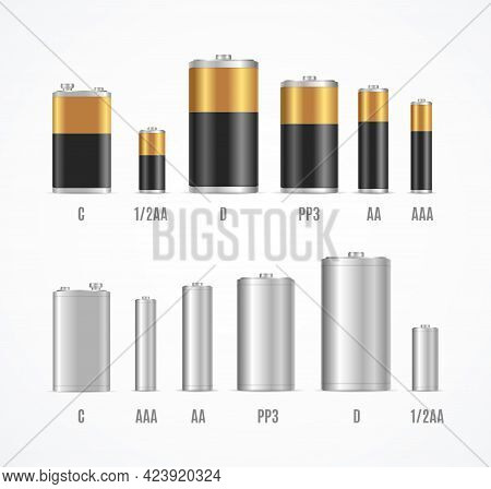 Realistic Detailed 3d Different Alkaline Batteries. Vector