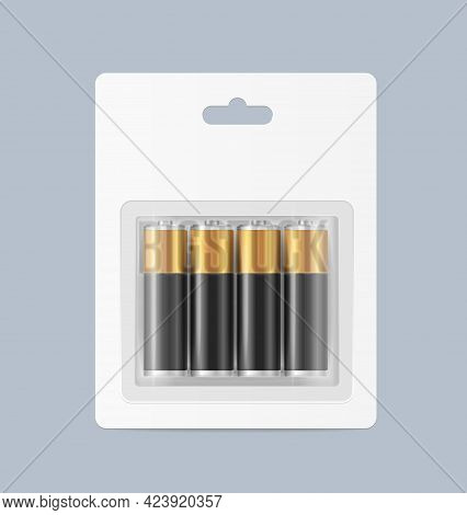 Realistic Detailed 3d Pack Of Alkaline Batteries. Vector