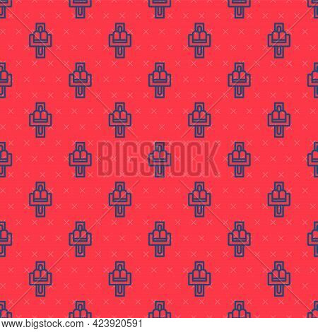 Blue Line Attraction Carousel Icon Isolated Seamless Pattern On Red Background. Amusement Park. Chil