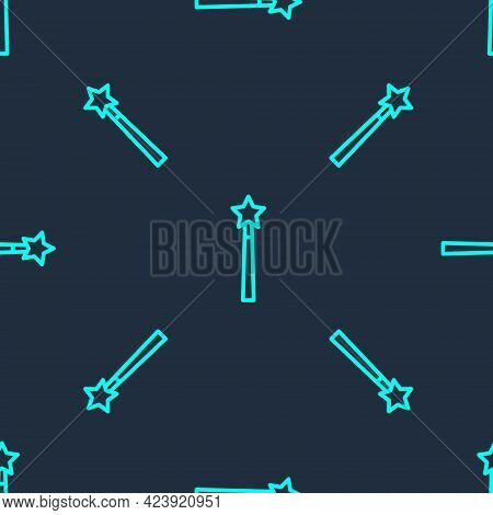 Green Line Magic Wand Icon Isolated Seamless Pattern On Blue Background. Star Shape Magic Accessory.