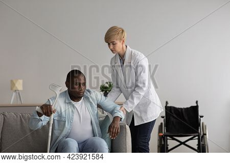 Medical Care, Patient Therapy And Rehab With Professional