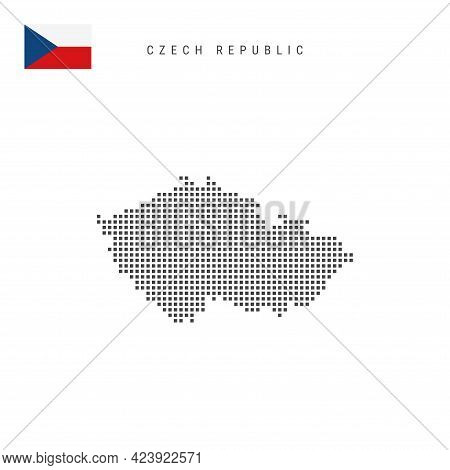 Square Dots Pattern Map Of Czech Republic. Czech Dotted Pixel Map With National Flag Isolated On Whi