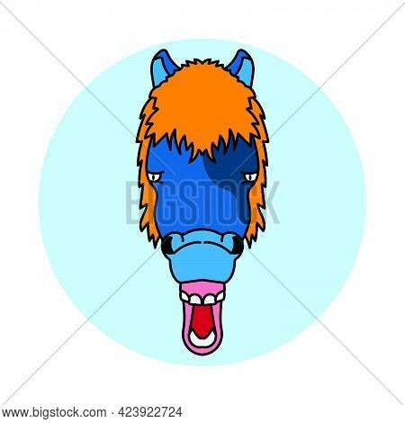 Stupid Horse Face Head Cartoon Mascot Illustration