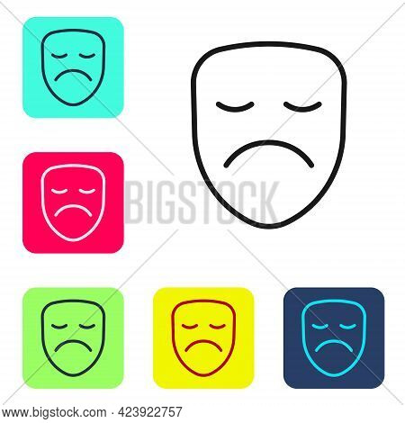 Black Line Drama Theatrical Mask Icon Isolated On White Background. Set Icons In Color Square Button