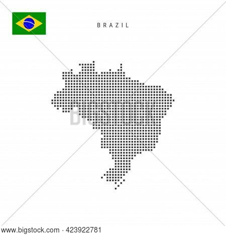 Square Dots Pattern Map Of Brazil. Brazilian Dotted Pixel Map With National Flag Isolated On White B