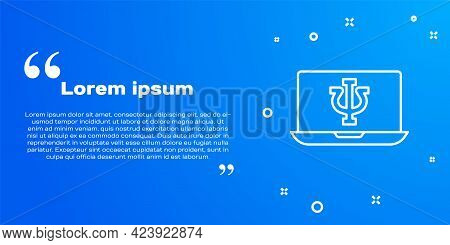 White Line Online Psychological Counseling Distance Icon Isolated On Blue Background. Psychotherapy,
