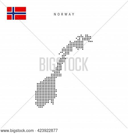 Square Dots Pattern Map Of Norway. Norwegian Dotted Pixel Map With National Flag Isolated On White B