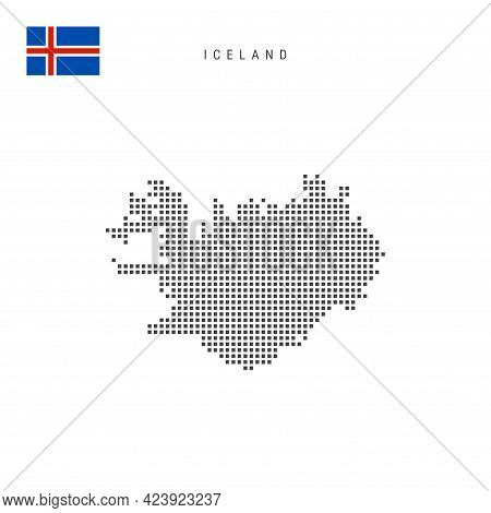 Square Dots Pattern Map Of Iceland. Icelandic Dotted Pixel Map With National Flag Isolated On White