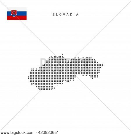 Square Dots Pattern Map Of Slovakia. Slovak Dotted Pixel Map With National Flag Isolated On White Ba