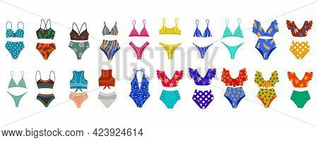 A Set Of Different Womens Swimsuits. Beachwear. Two-piece Swimsuits, Retro-style Swimsuits, Sports.