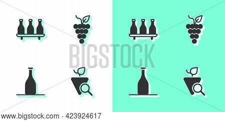 Set Grapes, Bottle Of Wine, And Bunch Grapes Icon. Vector