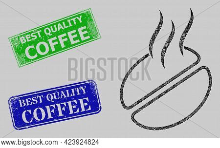 Wireframe Net Coffee Smell Model, And Best Quality Coffee Blue And Green Rectangular Corroded Stamp