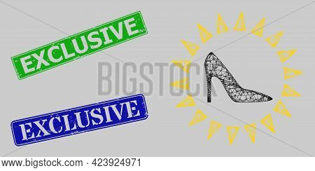 Carcass Net Mesh Exclusive Ladies Shoes Model, And Exclusive Blue And Green Rectangular Dirty Stamp