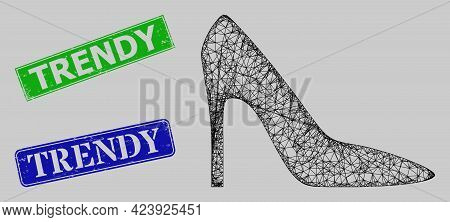 Wireframe Hatched Mesh High Heel Lady Shoe Model, And Trendy Blue And Green Rectangle Dirty Seals. C