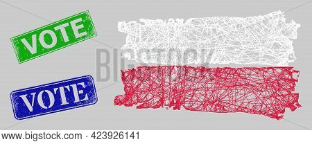 Wireframe Net Mesh Poland Flag Model, And Vote Blue And Green Rectangular Unclean Seal Imitations. F