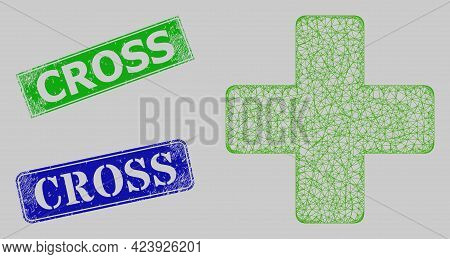 Wireframe Net Veterinary Cross Model, And Cross Blue And Green Rectangle Unclean Stamp Seals. Carcas