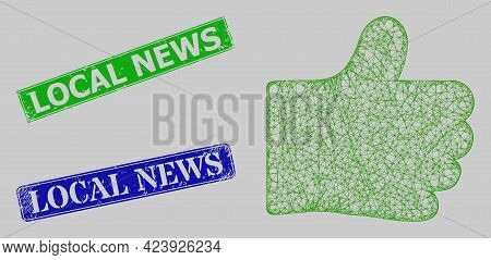 Wireframe Net Thumb Like Model, And Local News Blue And Green Rectangular Scratched Stamp Seals. Fra