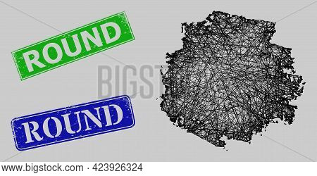 Carcass Net Mesh Round Charcoal Texture Model, And Round Blue And Green Rectangular Dirty Stamps. Fr