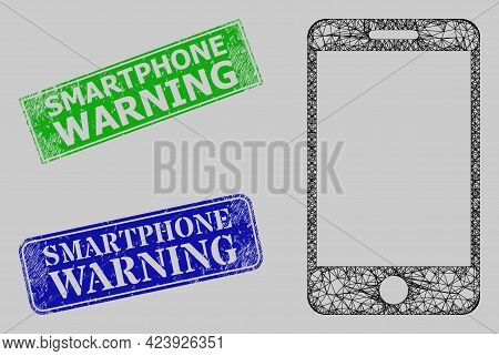 Carcass Net Smartphone Model, And Smartphone Warning Blue And Green Rectangle Dirty Stamps. Carcass