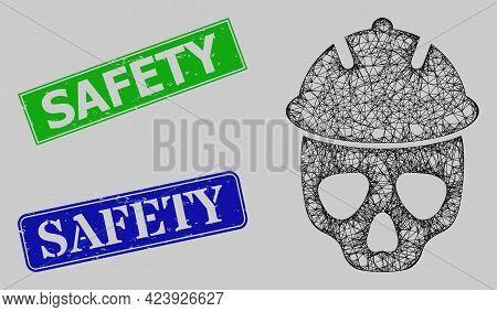 Wireframe Net Safety Helmet Skull Model, And Safety Blue And Green Rectangular Rubber Seals. Frame N