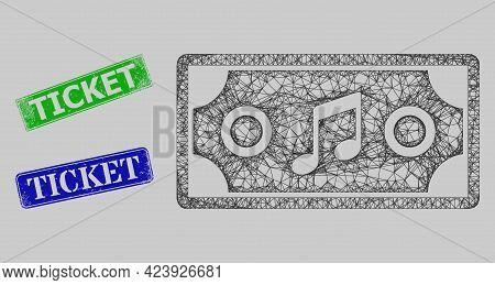 Carcass Net Concert Ticket Model, And Ticket Blue And Green Rectangular Unclean Stamps. Carcass Net