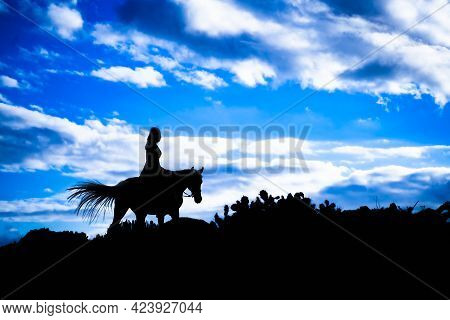 Silhouette Horseback Woman Riding On  Horse With Blue Sky On Horizon. Animal And Holiday Concept.