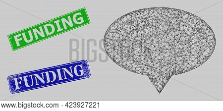 Carcass Hatched Mesh Banner Pointer Model, And Funding Blue And Green Rectangle Corroded Stamp Seals