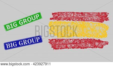 Carcass Hatched Mesh Spain Flag Model, And Big Group Blue And Green Rectangle Corroded Seals. Carcas