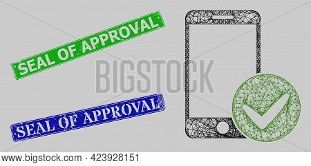 Carcass Net Mesh Approved Smartphone Model, And Seal Of Approval Blue And Green Rectangle Grunge Sea