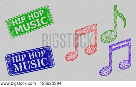 Carcass Net Melody Notes Model, And Hip Hop Music Blue And Green Rectangular Dirty Stamp Seals. Carc