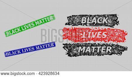 Wireframe Net Black Lives Matter Model, And Black Lives Matter Blue And Green Rectangular Corroded S