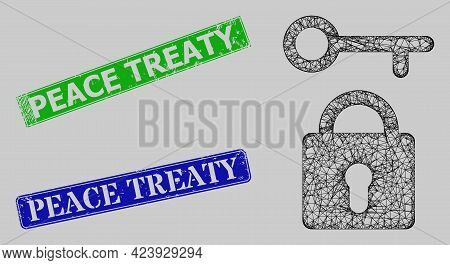 Carcass Net Mesh Lock Key Model, And Peace Treaty Blue And Green Rectangular Scratched Watermarks. F