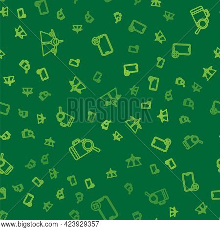 Set Line Plane, Lost Baggage And No Cell Phone On Seamless Pattern. Vector