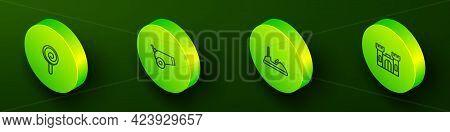 Set Isometric Line Lollipop, Cannon, Bumper Car And Castle Icon. Vector