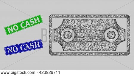 Carcass Net Mesh Banknote Template Model, And No Cash Blue And Green Rectangle Grunge Seal Imitation