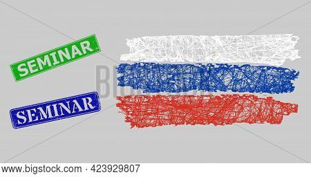 Wireframe Net Mesh Russia Flag Model, And Seminar Blue And Green Rectangular Corroded Stamp Seals. F