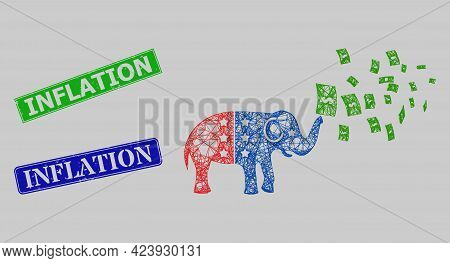 Carcass Net Mesh American Stimulus Money Inflation Model, And Inflation Blue And Green Rectangular S