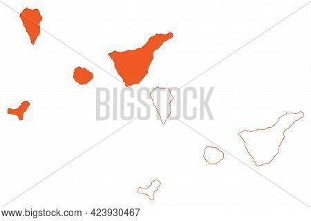 Province Of Santa Cruz De Tenerife (kingdom Of Spain, Canary Islands) Map Vector Illustration, Scrib