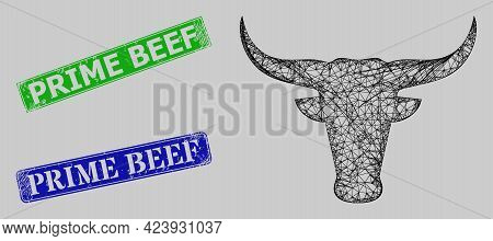 Wireframe Hatched Mesh Bull Head Model, And Prime Beef Blue And Green Rectangle Scratched Stamps. Fr