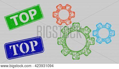 Carcass Net Mesh Top Gear Model, And Top Blue And Green Rectangle Rubber Stamp Seals. Carcass Net Me