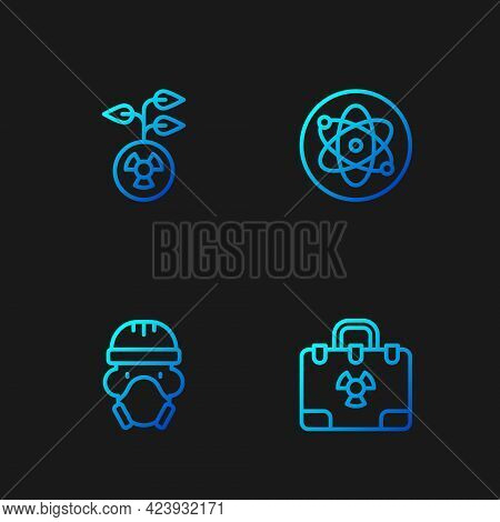 Set Line Radiation Nuclear Suitcase, Nuclear Reactor Worker, Radioactive And Atom. Gradient Color Ic