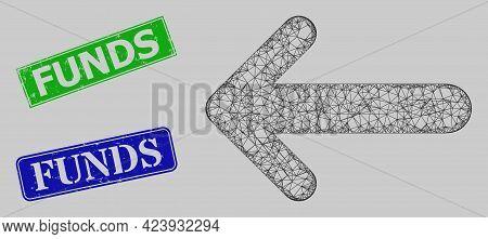 Carcass Net Arrow Left Model, And Funds Blue And Green Rectangle Dirty Seals. Carcass Net Mesh Image