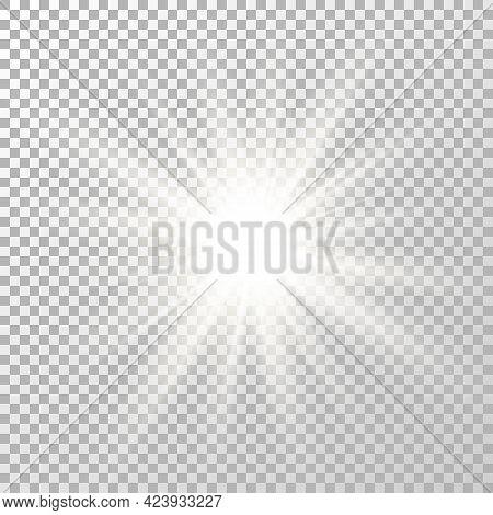Glow Light Effect. Shine Flash Design. Star Burst. Bright White Flare. Sparkle Sun Beam. Magic Blur